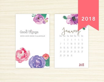 2018 Mini Desk Calendar - Watercolor Flowers