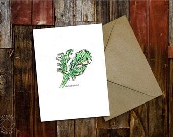 Green Greeting! Valentine! Sweet botanical note card stationary | Kale Beet Mint Olive Artichoke Heart