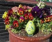 Green on Blue Easter Egg,...