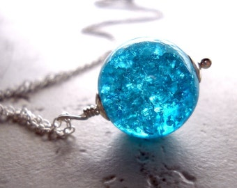 Teal Blue Orb Necklace, Blue Disco Ball Necklace, Sterling Silver and Blue Crackle Glass, Sparkly Silver Teal Orb, Winter Ice