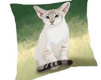 Oriental Blue-Point Siamese Cat Throw Pillow