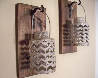 Rustic gray lantern set (2), wall decor, bedroom wall decor,  wall sconces, housewarming gift, wrought iron hook, rustic wood boards