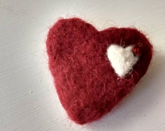Red needle felted heart brooch
