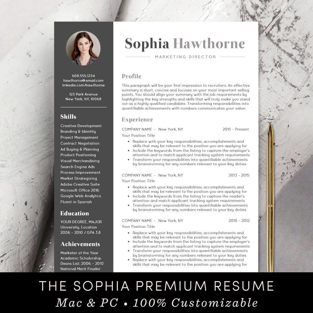 Professional Resume Template with Photo Modern CV Word