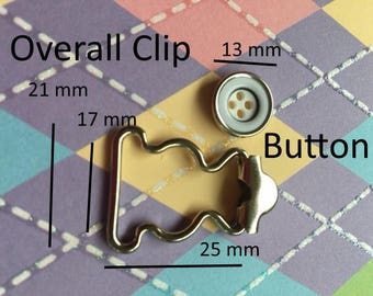 100 sets Overall Buckles with Sew-in Buttons - 17 mm width in Nickel