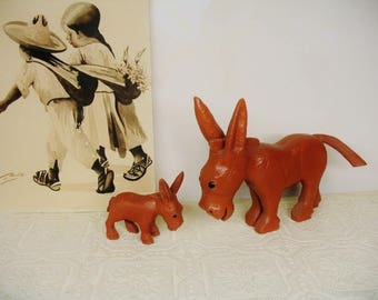 Hand Carved Wood Painted Momma and Baby Donkey Burro Southwest Art