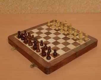 Travelling Folding Magnetic Chess Set 10 x 10 inches from India. SKU: D0104