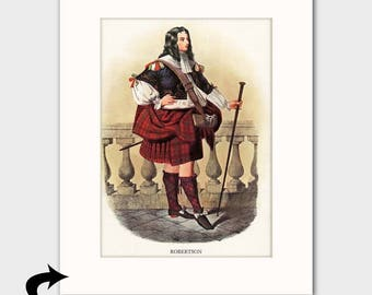 Clan Robertson Family Art Print w/Mat (Clan Chief Art, Office Decor, Scottish Gift for Him) --- Matted Scotland Art