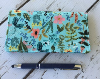 Rifle Paper Co Fabric Checkbook Cover, check register holds Cash and  Checkbook two pockets