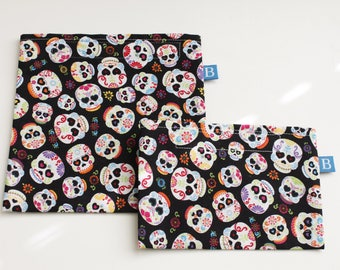 Reuseable Eco-Friendly Set of Snack and Sandwich Bags in Calaveras Sugar Skulls Print Fabric