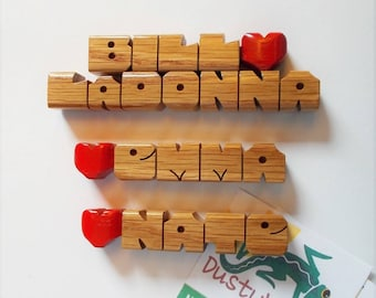 Family Name Set, Refrigerator Magnets in Oak Wood, Custom Carved to Order