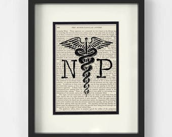 Nurse Practitioner, NP Graduation Gift - NP over Vintage Medical Book Page - Nurse Practitioner Gift, Nurse Practitioner Graduation Gift