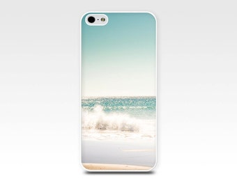 nautical iphone case 5s iphone 6 case beach scene iphone 4s ocean case iphone 4 case 5 iphone case photography teal pastel blue waves cream