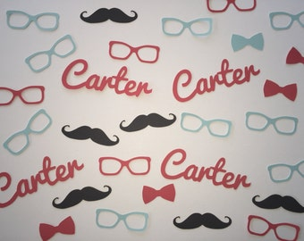 Baby Shower Personalized Confetti - Bow Ties, Glasses, Mustaches, and Name Confetti - 350 pieces