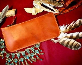 Leather Blood Knot Wristlet