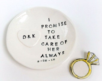 Personalized mother of bride gift ring dish thank you handmade by Cathie Carlson