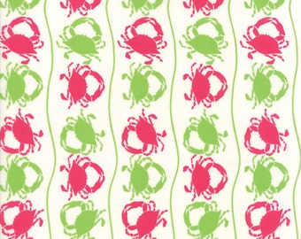 Tide Pool Pink Green and White Crabs Fabric - Moda -by Kate Nelligan - by the half yard - 100% Cotton