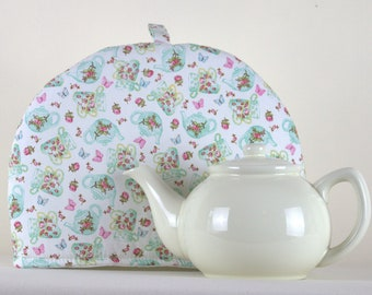 Large Tea Cosy Cozy. Brand New Made in England. Green Tumbling Tea Pots Design Fabric