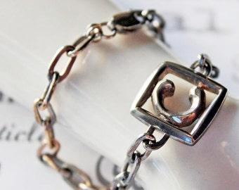 Letter C Monogram Sterling Silver Bracelet Men's length, Men's Silver Monogram Bracelet, Sterling Letter C Initial Bracelet
