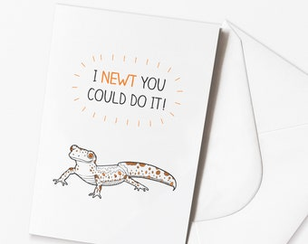 "Funny Well done Card - ""I newt you could do it"" Newt Card"