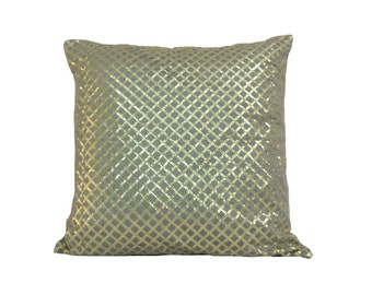 Grey Gold Pillow/ Grey Pillow Cover/ Decorative Pillow/ Grey Festive Pillow/ Grey Throw Pillow/ Grey Gold Accents/ 18 X 18 Pillow Cover
