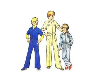 SALE 1970s Boys Front Zipper Jumpsuit Simplicity 7596 Vintage Sewing Pattern Size 8 Chest 27 UNCUT