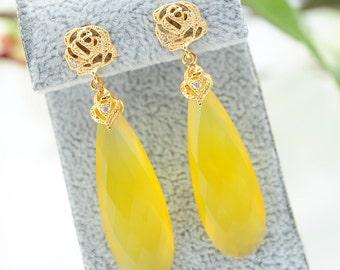Yellow jewelry Crystal drop earrings Long Chalcedony earrings Yellow Dangle earrings Long Crystal Gold Earrings for woman Unique earrings