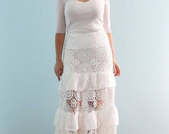 Skirt Only! Hand Made White Rustic Vintage lace Wedding Dream Floor Length Skirt, White Lace skirt