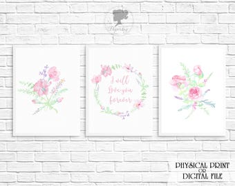 Watercolor floral Pink Nursery Prints, I will love you forever, Girl Nursery decor, Pink bedroom, Pink Flowers, Rose Watercolour print