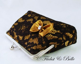 Black lace clutch with gold satin inlay, evening purse with satin bow, bridesmaid handbag