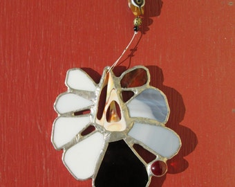 Stained Glass Flower with sliced shell and beads - Sally