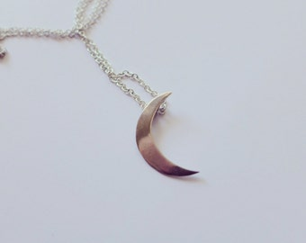 Waxing Crescent Moon Necklace Brass or Sterling Silver Smooth or Textured