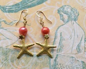 Dangle Earrings - Starfish Earrings - Beaded Earrings - Gift for Her - Beach Wedding - Mermaid Jewellery - Beach Jewellery - Shell Earrings