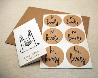 """Hi Lovely Kraft Stickers. Round Stickers. Labels. Party Favor Stickers. 1.5"""" Set of 60 Envelope Seals Planner Stickers by Once Upon Supplies"""