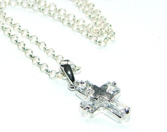 Christian Cross Pendant Necklace, Crystal & Silver - A Gift of Faith