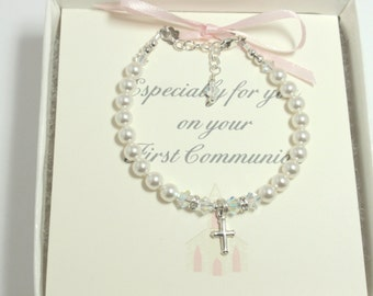 1st Communion Bracelet, Handmade First Communion Swarovski Pearl and Crystal Bracelet, 1st Communion Gift Bracelet