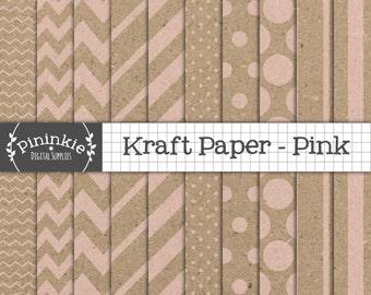 Pink Kraft Digital Paper Pack, Pink Kraft Scrapbook Paper, Pink Kraft Textured Paper, Instant Download, Commercial Use