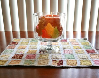 Scrappy Fall Quilted Table Runner, Wall Hanging, Autumn, Moda, Fig n' Plum