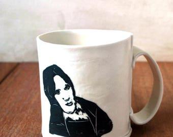 Delicate Porcelain Coffee Mug, Tea Cup, White Coffee Mug, Portrait Ceramic Mug, Comfortable Handle Grip Mug, Gift Tea Lover, Hostess Gift