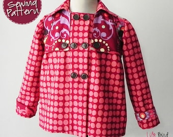 Mona Coat - 12 months to 8 years - PDF Pattern and Instructions - trench style, peacoat