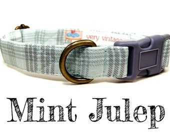 "Mint Green Gray Plaid Preppy Vintage Dog Collar - Organic Cotton - Antique Metal Hardware - ""Mint Julep"""