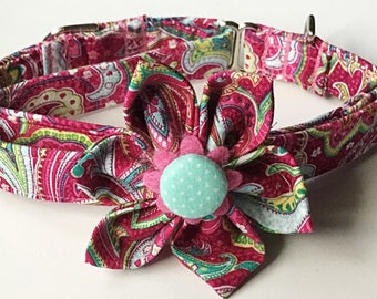Pink Paisley Martingale Girl Dog and Cat Collar with Matching Flower