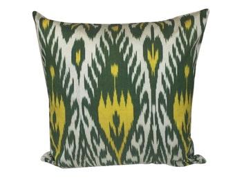 Green Yellow Decorative Ikat Cushion Pillow Cover, 45 x 45 cm