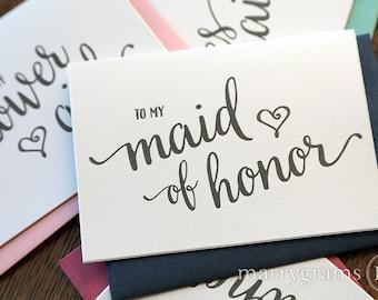 To My Bridesmaid, Wedding Party, Bridal Thank You Cards Thank You Bridesmaid Card, Matron Maid of Honor, Flower Girl Attendant (Set 6) CS15