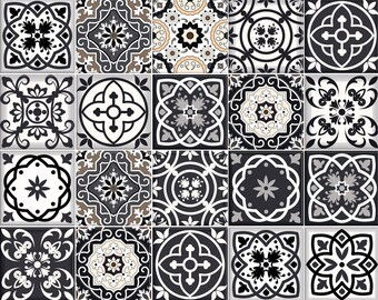 Black U0026 White Tile Decals Tile Stickers Kitchen Deals Bathroom Tiles Decals  DIY Decor Idea Backsplash