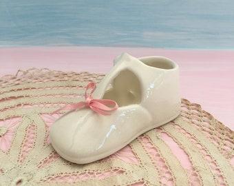 Porcelain Baby Shoe, White Maryjane, Nursery Decor, Baby Shower Gift, Baby Girls, Vintage Cottage Nursery
