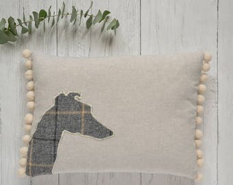 Whippet cushion with pompom trim | Tweed whippet pillow | Italian greyhound cushion | Long Dog pillow | Whippet owner gift | Long dog gift