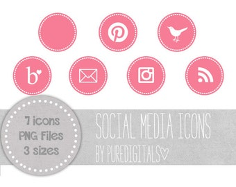 Bubblegum Pink Blog Buttons, Pink Social Media Icons, Cute Social Media Buttons, Pink Blog Icons, Website Icons