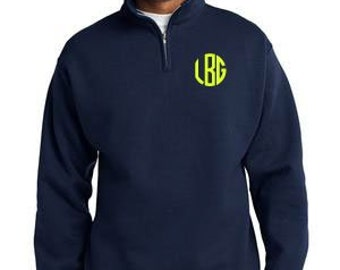 Personalized Monogrammed quarter - 1/4 zip Sweatshirt gift initials monogram