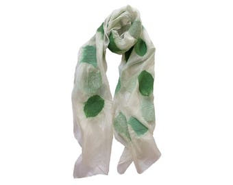 Nuno Felted Silk Scarf in White with Shades of Green